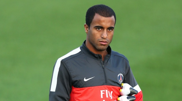 PSG winger Lucas Moura in London for Tottenham talks