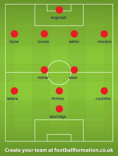 Liverpool lineup stoke city